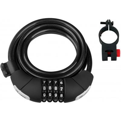 Zámek F LUX spirálový kódový 180cm/8mm+držák, črn.