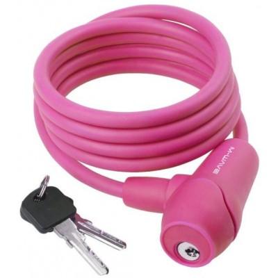 zámek  M-Wave 8x1500mm silikonový růžový