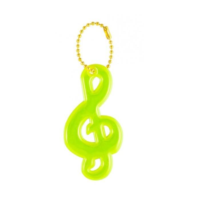 přívěšek reflexní houslový klíč žlutý