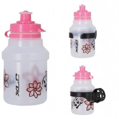 láhev dětská XLC WB-K14 + držák květiny růžová