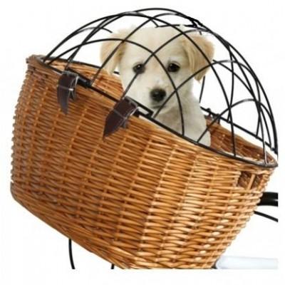 koš přední proutěný pro psy s krytem